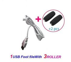 Hot-2In1 USB Electric Foot File Polish Pedicure Pumice For Heels + 2 Roller Heads by post air free shiping