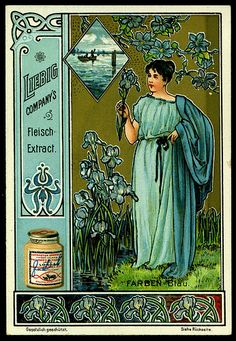 1900. Colours (Blue) trading card issued by Liebig Extract of Beef Company. S618.