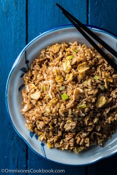 Soy Sauce Fried Rice (酱油炒饭) - A true Chinese classic. Slightly indulgent, bursting with flavor, and good enough to serve as a main, it takes just ten minutes to prep and cook | omnivorescookbook.com