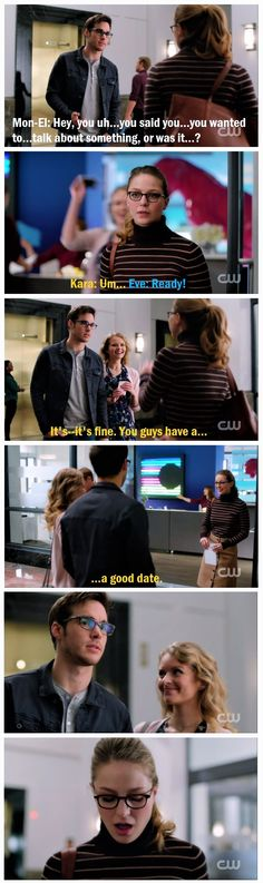 This was painful, but well done. I don't hate Eve.That's the point; that's why it's so hard. She's preventing Kara/Mon-El from happening, yeah, but she's been nothing but a sweetheart so far. And c'mon. If Mike Matthews asked YOU out, how fast would you say yes? It's just showing Kara what fear costs you :`( |TV Shows||#Supergirl edit||2x11||Catco||Kara x Mon-El||#Karamel||Melissa Benoist||Chris Wood||CW|