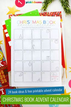Free Printable Christmas Book Advent Calendar for Kids There is a great list of 24 Christmas picture books, plus a free printable book advent calendar to fill in so you can have lots of fun reading to your kids this Christmas.