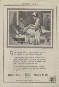 1919 Ivory Soap Print Ad WWI Nurse Tends To Soldiers Vets Hospital John Newton Art