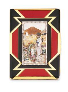 ETUI A CIGARETTES ART DECO, PAR CHAUMET  Orné d'un décor géométrique emaillé rouge et noir, le couvercle appliqué de nacre (abimée) figurant une scène japonisante dans un cadre serti de petits diamants, vers 1925, 10.8 cm.