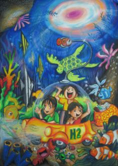 'Hydrogen Underwater Cleaner Car' by Gavriella Diandra Ganesh, Aged 11, Indonesia: 4th Contest, Bronze #KidsArt #ToyotaDreamCar