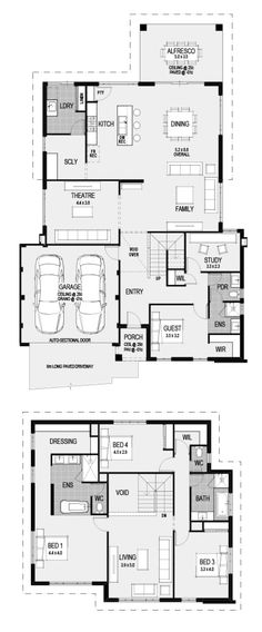 Reconfigure to be a more western layout Double Story House, House Plans One Story, Dream House Plans, House Floor Plans, Home Design Floor Plans, Dream Home Design, Floor Design, Latest House Designs, New Home Designs