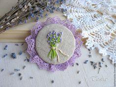 """Купить """"Лаванда"""" бохо брошь - брошь цветок, брошь, брошь цветок нежный, броши из ткани"""