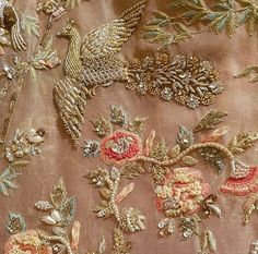 Ideas Bird Embroidery Fashion Indian For 2019 Zardosi Embroidery, Hand Work Embroidery, Bird Embroidery, Couture Embroidery, Embroidery Motifs, Indian Embroidery, Embroidery Suits, Embroidery Fashion, Hand Embroidery Designs