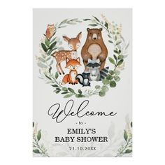 Shop Woodland Animals Greenery Gold Forest Welcome Baby Poster created by BlueBunnyStudio. Personalize it with photos & text or purchase as is! 2nd Birthday Invitations, Baby Shower Invitations, Forest Animals, Woodland Animals, Woodland Baby, Woodland Forest, Gold Shower, Baby Posters, Virtual Baby Shower