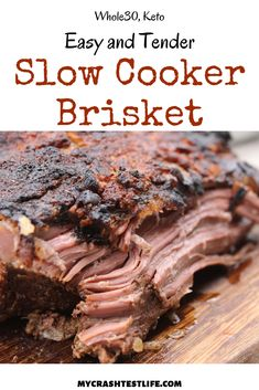 This is a simple recipe that you could put together the morning of and by the time you get home, dinner is ready. Onions, beef broth and Dijon mustard help to make this brisket one of a kind! Beef Brisket Recipes Crockpot, Slow Cooker Brisket, Slow Cooker Recipes, Gourmet Recipes, Beef Recipes, Cooking Recipes, Crock Pot Brisket, Beef Brisket Oven, Spinach Recipes