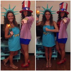 Uncle Sam and Statue of Liberty costumes #halloween #college #america