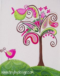 """paisley tree and vintage birds"" fine art print. many sizes available. www.tinybydesign.com"