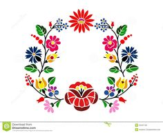 Hungarian Embroidery Patterns A beautiful hungarian Kalocsai floral pattern. Hungarian Embroidery, Folk Embroidery, Learn Embroidery, Chain Stitch Embroidery, Embroidery Stitches, Machine Embroidery, Bordado Popular, Embroidery Designs, Stitch Head