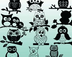 12 Owl Silhouette Images Digital Clipart by OMGDIGITALDESIGNS