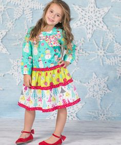 Look at this Jelly the Pug Teal Joy Cherie Dress - Infant, Toddler & Girls on #zulily today!
