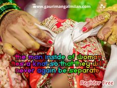"""""""The man inside of woman ties a knot so that they will never again be separate."""" #GauriMangalMilan #WeddingPlanner #EventOrganiser #MarriageOrganiser #Decoration  Visit: www.gaurimangalmilan.com Register: www.gaurimangalmilan.com/register Contact: +91-9350655999, +91-9350455999"""