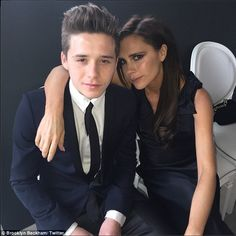 So sweet: Brooklyn Beckham posted this snap of him and mum Victoria at Elton John's wedding on Saturday, writing: 'Amazing day with family and special friends. Congratulations Uncle Elton and Uncle David #sharethelove'