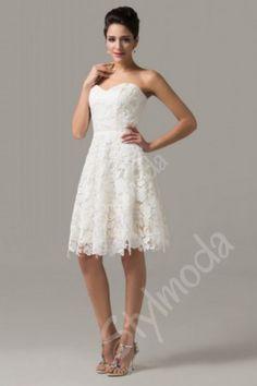 Svatební šaty krátké   Společenské šaty krajkové bílé champange CL6126  Večerní Šaty 0f7f6d7197