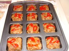 Mini Meatloaves. Use your favorite meatloaf recipe. Put a Large Size Pampered Chef scoopful into the Brownie Pan and bake at 350 for 20 minutes.