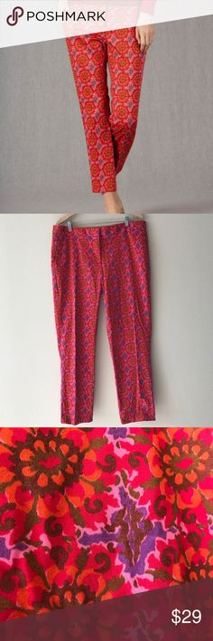Boden Floral Bistro Cropped Trousers Size 14L Boden Floral Bistro Cropped Trousers Size 14L!  Beautiful bright multicolored print!  In very good condition! Boden Pants