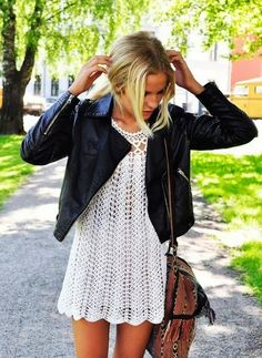 Crochet mini dress and black leather jacket