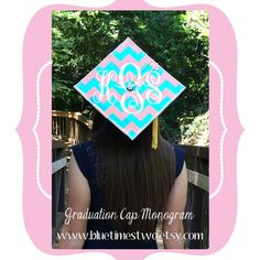 Large 8 Monogram Decal DIY Graduation Cap by BlueTimesTwo on Etsy Graduation Cap Decoration, Graduation Diy, Monogram Decal, Grad Cap, Diy Crafts, College Life, Nifty, Picture Ideas, Etsy