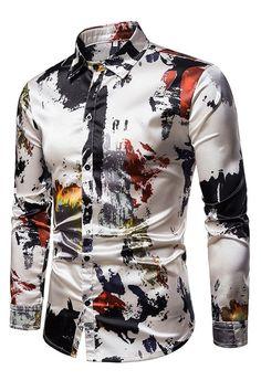 Blouse Men's Clothing Slim fit Hawaiian Shirt Men Fashion 2019 New model Shirts Graffiti Casual Long sleeve Camisa masculina Chemise Tartan, New Model Shirt, Casual Shirts For Men, Men Casual, Casual Tops, Formal Tops, Shirt Collar Pattern, Mens Printed Shirts, Silk Shirts