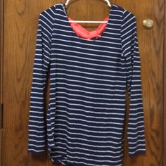 Striped shirt with bow back, size XL, fits like L Worn once! Rue 21 Tops Tees - Long Sleeve