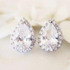 Silver Drop Earrings, Pearl Stud Earrings, Pearl Studs, Rose Gold Earrings, Wedding Earrings, Crystal Necklace, Vintage Wedding Jewelry, Bridal Jewelry, Decorative Hair Combs