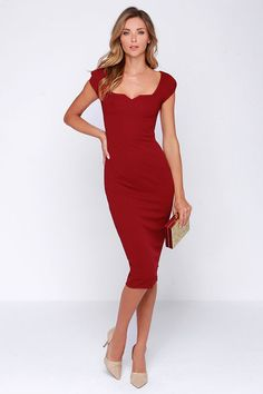 LULUS Exclusive Main Dame Wine Red Midi Dress at Lulus.com!