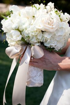 Ribbon & lace bouquet wrap. LOVE.