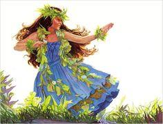 """Blue Hula - """"Hula Polu"""" by Janet Stewart Hawaiian Woman, Hawaiian Art, Hula Music, Hawaii Hula, Hawaiian Dancers, Polynesian Art, Hula Dancers, Hula Girl, Dance Art"""
