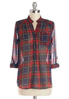 Living Room Lodging Top in Red Pine - Chiffon, Sheer, Woven, Mid-length, Plaid, Buttons, Pockets, Casual, Rustic, Button Down, Long Sleeve, ...