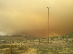 North Fort Collins ranch under smoke from Hewlett fire, May 16, 2012