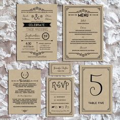 printable-rustic-diy-wedding-invitation-set-sample-on-kraft-paper-mountainmodernlife.com