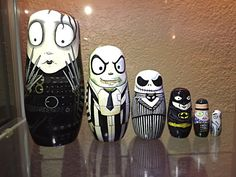 Tim Burton Handpainted Nesting Dolls by JessisKreepShop on Etsy