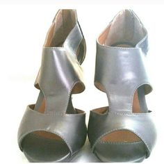 SHOES Gray with cutouts.  Comfy and cute. Shoes Heels