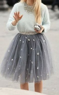 Grey Tulle Skirt - this is the perfect grown up chic way to get away with a tutu as an adult!! Love it