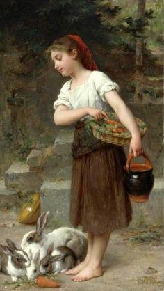 Feeding The Rabbits -- Emile Munier (1840 – 1895, French)