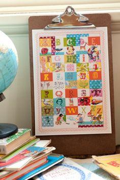 Vintage Alphabet art print 8x10 by lovelysweetwilliam on Etsy, $20.00