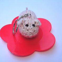 Pink Pig Keychain Hand Knit Piggy Piglet Animal by Girlpower, $7.50