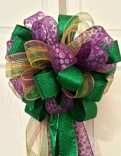 Purple gold and green Mardi Gras Fat Tuesday mailbox bow large three ribbon New Orleans Mardi Gras door hanger #bestofEtsy #gifts