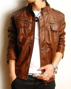 Резултат с изображение за leather jacket mens brown