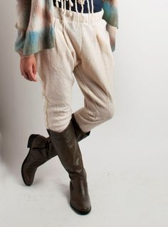 Ivory riding Pants felted Baggy wool Pants pockets by texturable