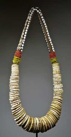 Necklace from Papua New Guinea.  Textile, natural fibre, shells, stone, beads.  ca. Mid 20th century | 390$ ~ sold
