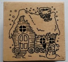 DESTASH - Christmas Cottage Wooden Backed Rubber Stamp by CrowCottageCrafts on Etsy