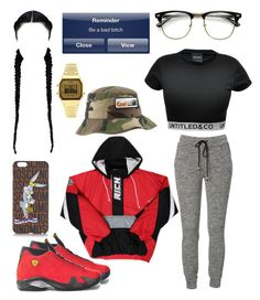 """signature watch."" by lowkeymufasa ❤ liked on Polyvore featuring CO, NIKE, Coal, Moschino, Topshop and French Connection"