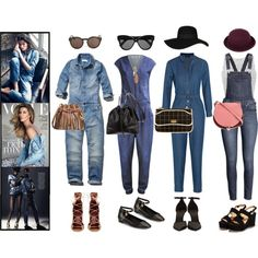 Denim Overalls by haekunamatata on Polyvore featuring Miss Selfridge, Abercrombie & Fitch, A.P.C., Noisy May, H&M, Burberry, Isabel Marant, Salvatore Ferragamo, Alexander McQueen and Chanel