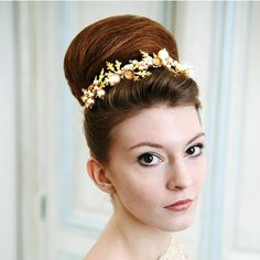 petworth gold acorn and pearl wedding tiara by cherished | notonthehighstreet.com
