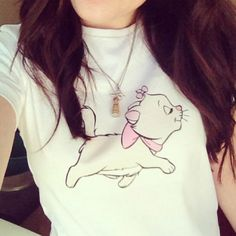 Disney Aristocats Marie T-shirt. DIY homemade. Tinkerbell necklace <3