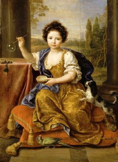 Portrait of Louise Marie Anne de Bourbon,  legitimised daughter of King Louis XIV of France and his mistress Athénaïs, Louise de La Vallière blowing bubbles with her dog and a bird, 1600s by Pierre Mignard (French artist, 1612-1695 | It's About Time: Dog Days of Summer - 16-17C Children & Dogs